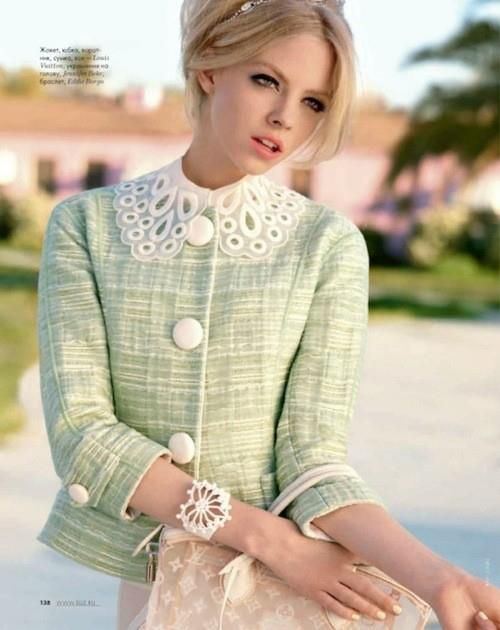 green jacket with lace collar