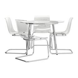 Salmi  Tobias Table And 4 Chairs Glass Clear  Dining Sets Stunning Glass Dining Room Table Ikea Inspiration Design