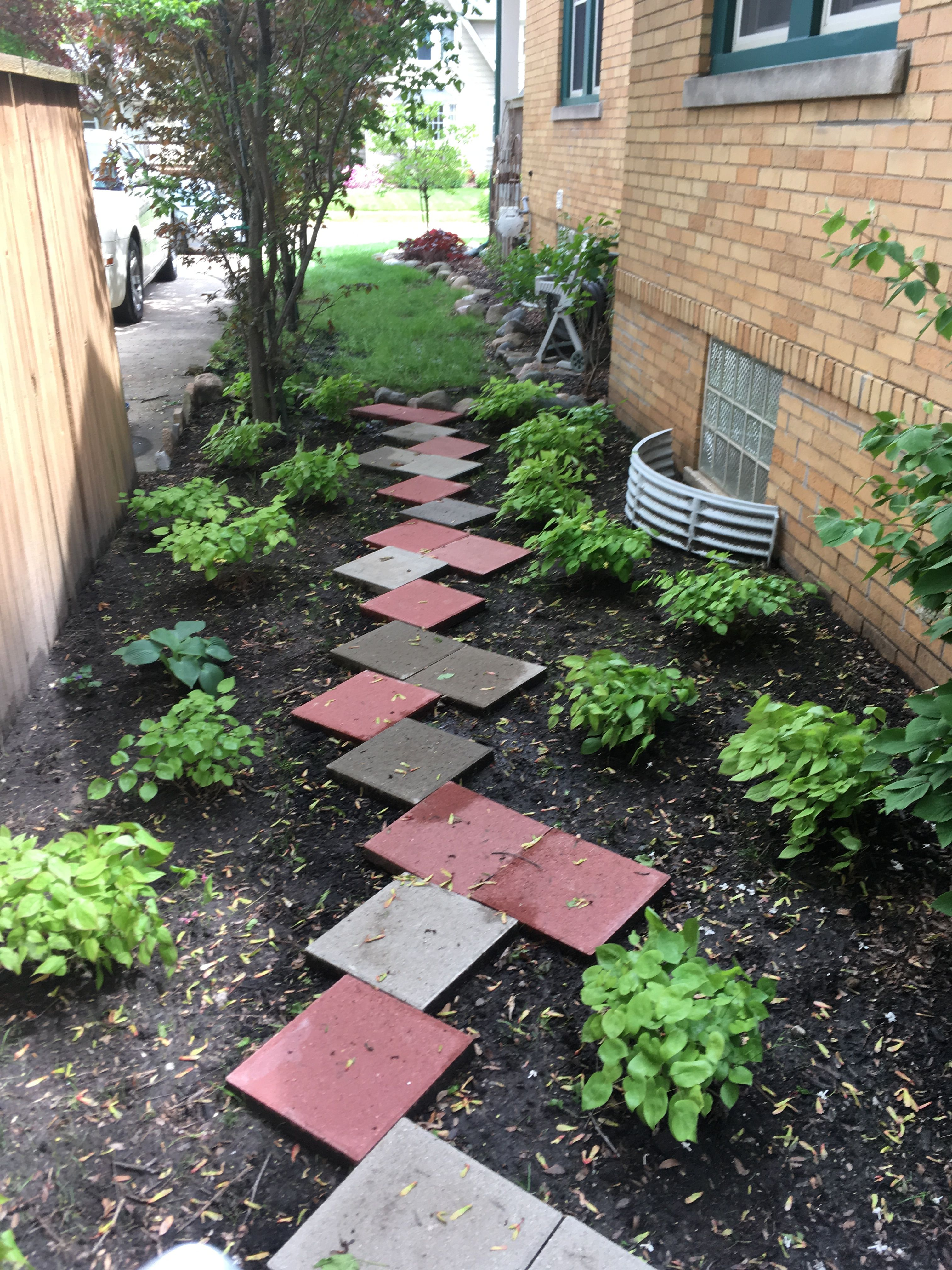 Idea for wet and shady area of yard. Plants used are Hosta ... on Landscaping Ideas For Wet Backyard id=23481