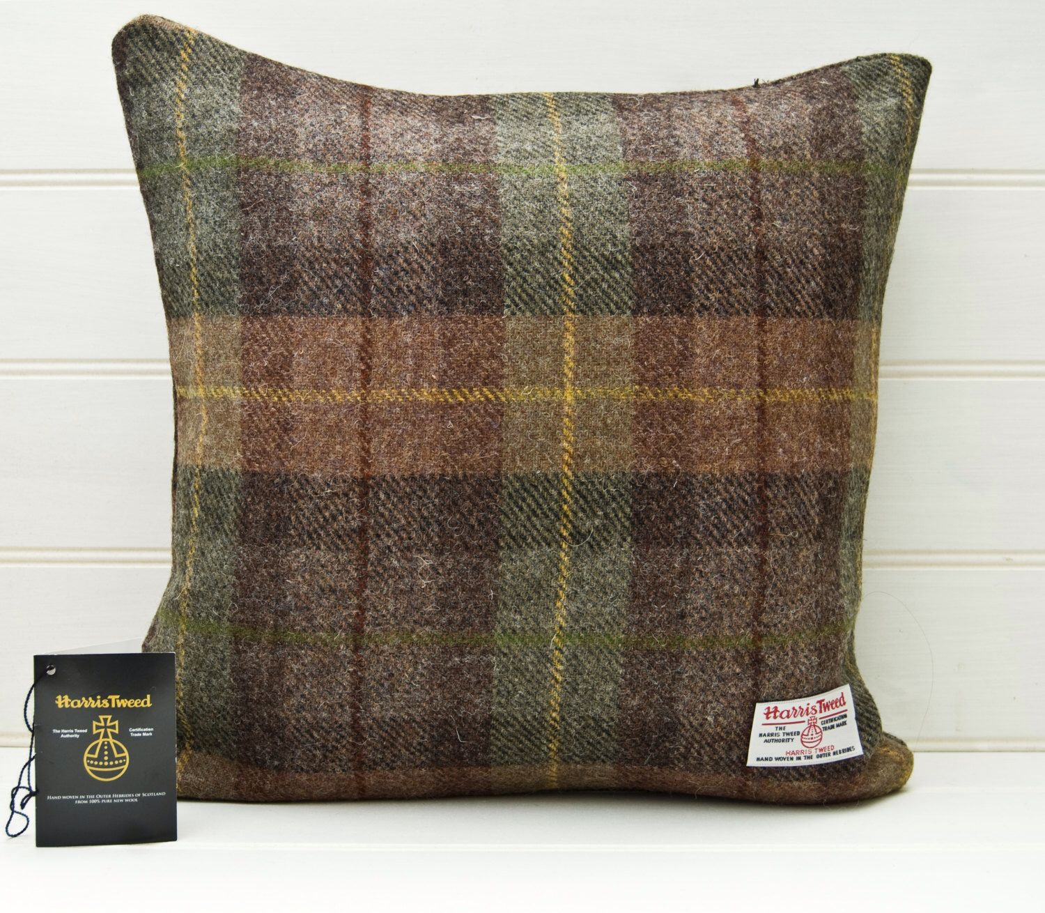 Brown Green Throw Pillow Plaid Tartan Cushion Cover Genuine Scottish Harris Tweed 16ins by ...
