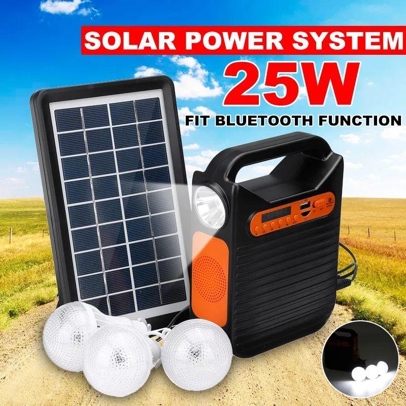 25w Solar Powered System Emergency Dc System Light Kit Solar Generator Fm Radio Audio Usb Card Power Generation With Solar Panel Electrical Equipment Supplies Led Usb