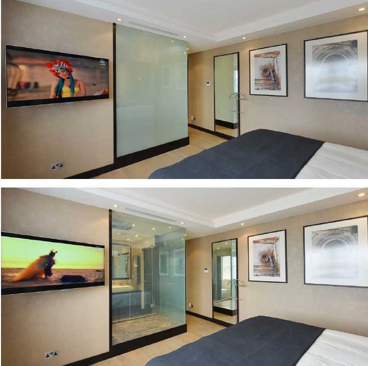 Switchable Film Smart Film Magic Film Pdlc Film Smart Glass Switchable Glass Magic Glass Electric Privacy Glass Working Eff With Images Smart Glass Home Privacy Glass