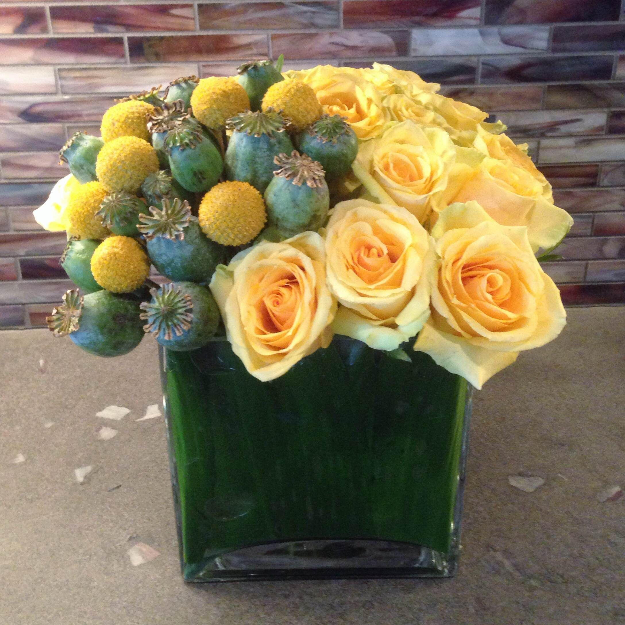 Yellow Rose Flower Arrangement With Thistle And Billy Balls For