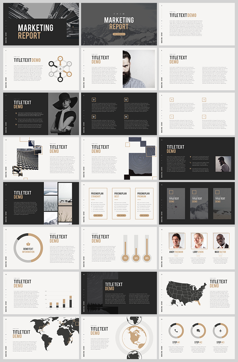 Marketing report free powerpoint template | layout | inspiration ...