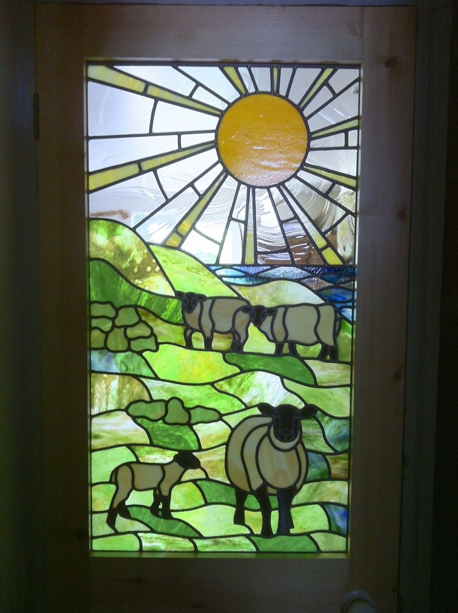 5 Finished Stained Glass Window With Three Sheep And A Lamb And The Sea In The Distance