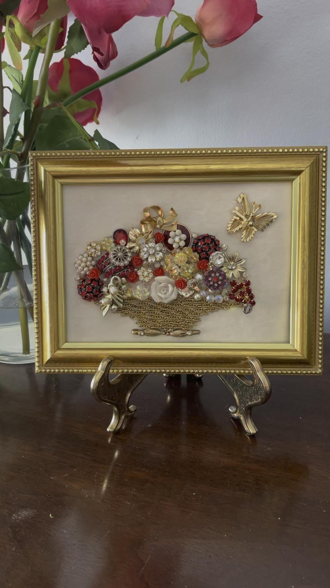 Gift for Her, Jewelry Art Framed  Flower Bouquet B