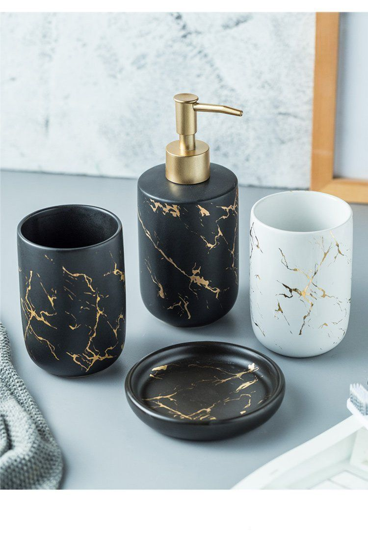Ceramic Marble 6PC Soap Dispenser Set in 6  Black and gold