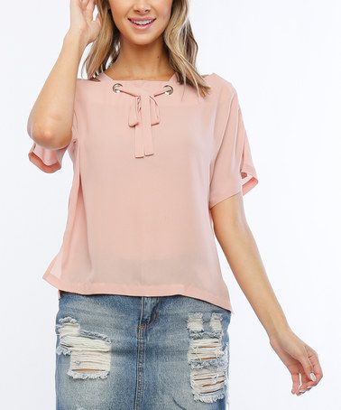 This Mauve Tie-Neck High-Low Dolman Top is perfect! #zulilyfinds