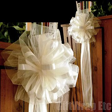 6 Large 10 Ivory Embled Pew Bows Tulle Satin By Giftwrapetc