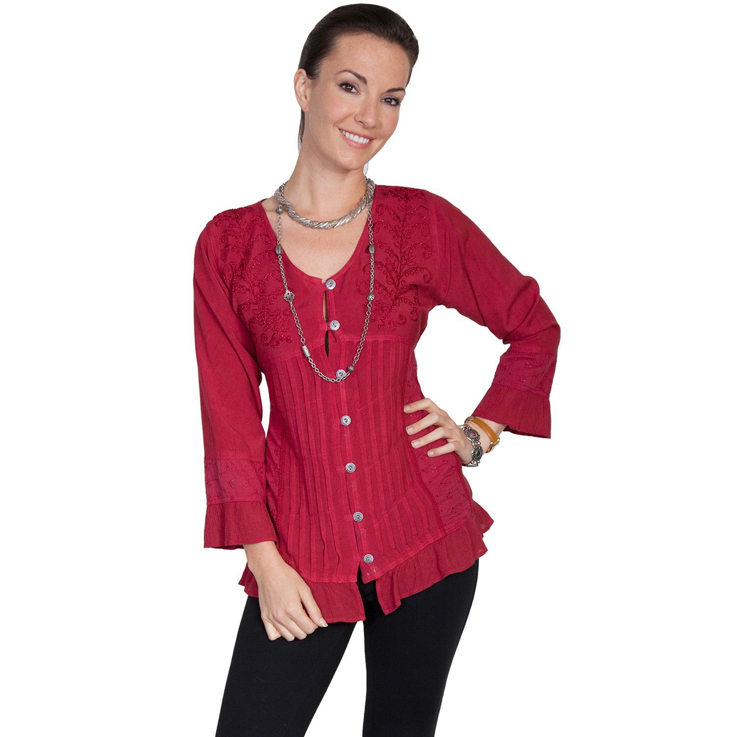 Scully Honey Creek Womens Burgundy 100% Rayon L/S Yoke Embroidered Blouse