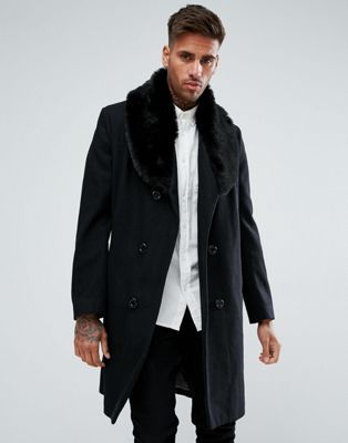 3b825f65f49 boohooMAN Double Breasted Wool Overcoat With Faux Fur Trim In Black ...