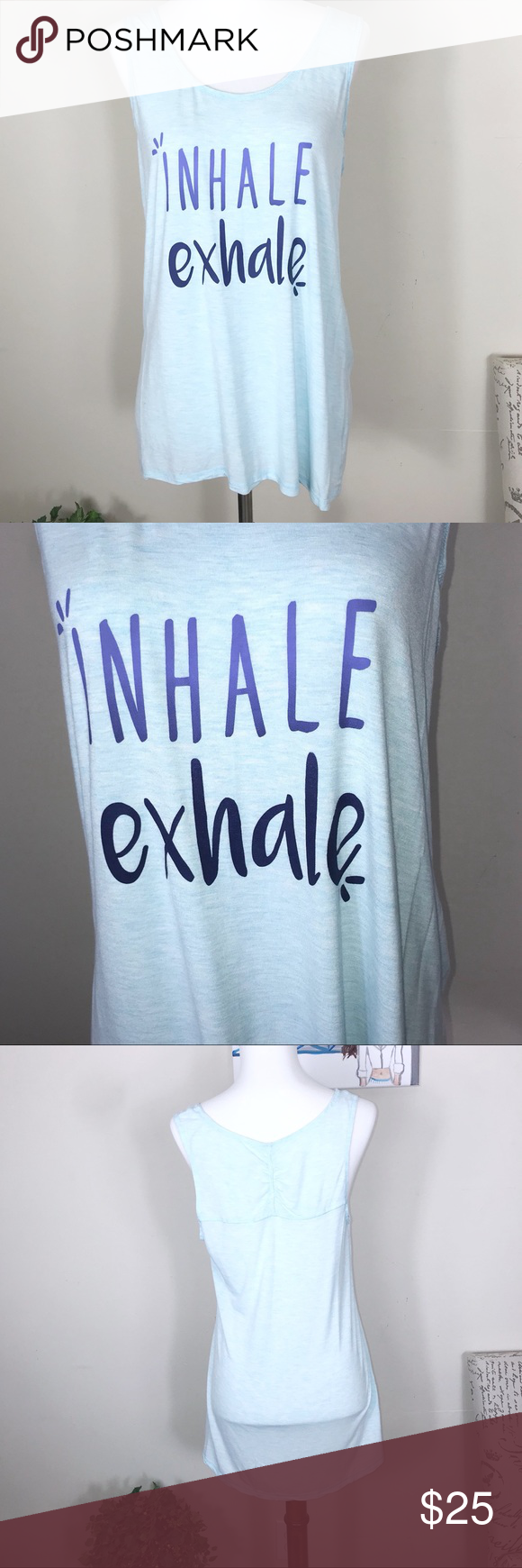 Gaiam Light Blue Inhale Exhale Tank Top Size M GAIAM light blue yoga tank top size medium. Says Inhale Exhale. Lightweight and good used condition. Please see pictures.   Measurements GAIAM Tops Tank Tops #inhaleexhale Gaiam Light Blue Inhale Exhale Tank Top Size M GAIAM light blue yoga tank top size medium. Says Inhale Exhale. Lightweight and good used condition. Please see pictures.   Measurements GAIAM Tops Tank Tops #inhaleexhale