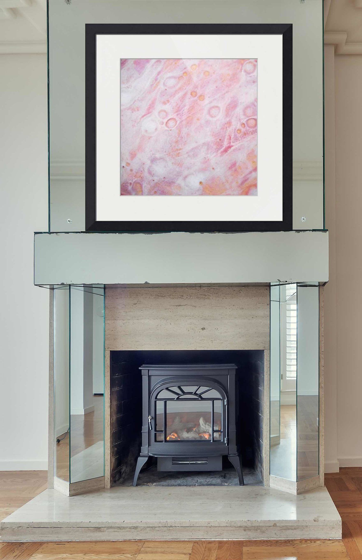 Square abstract framed print above fireplace pink red yellow and white modern canvas prints neutral living room glass mantel with also rh pinterest