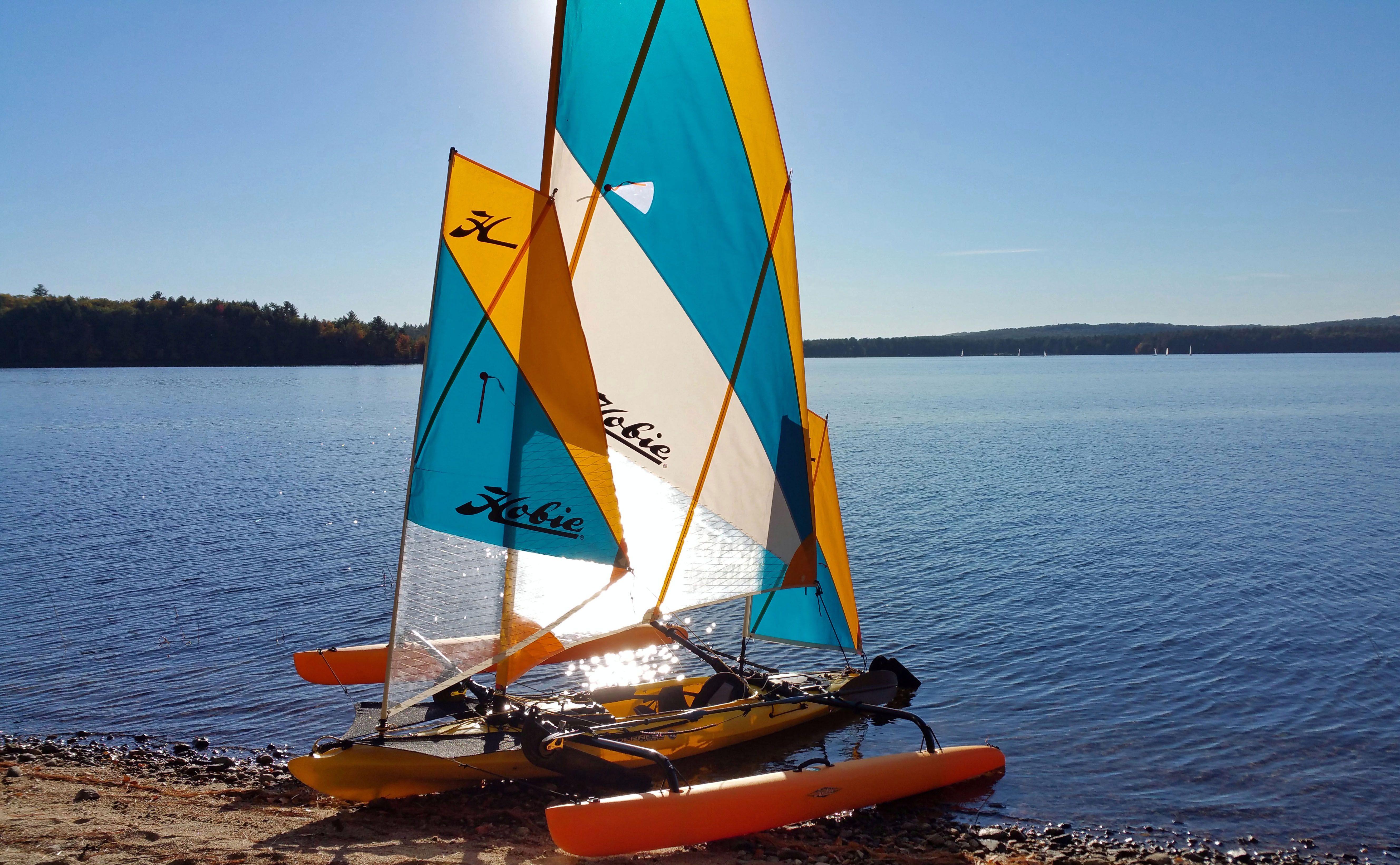 Tri sail setup Hobie kayak, Boat, Boat trips