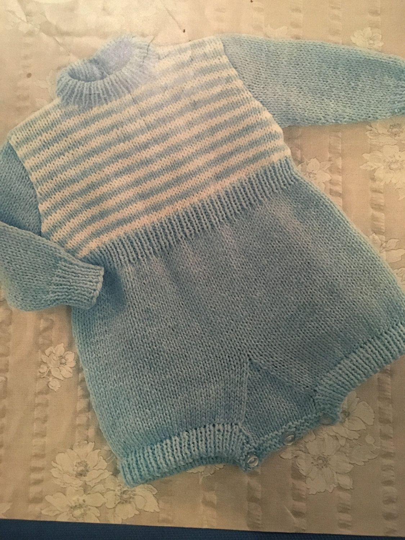 Knitting Pattern Baby Romper Suit Boy Girl 18-22\