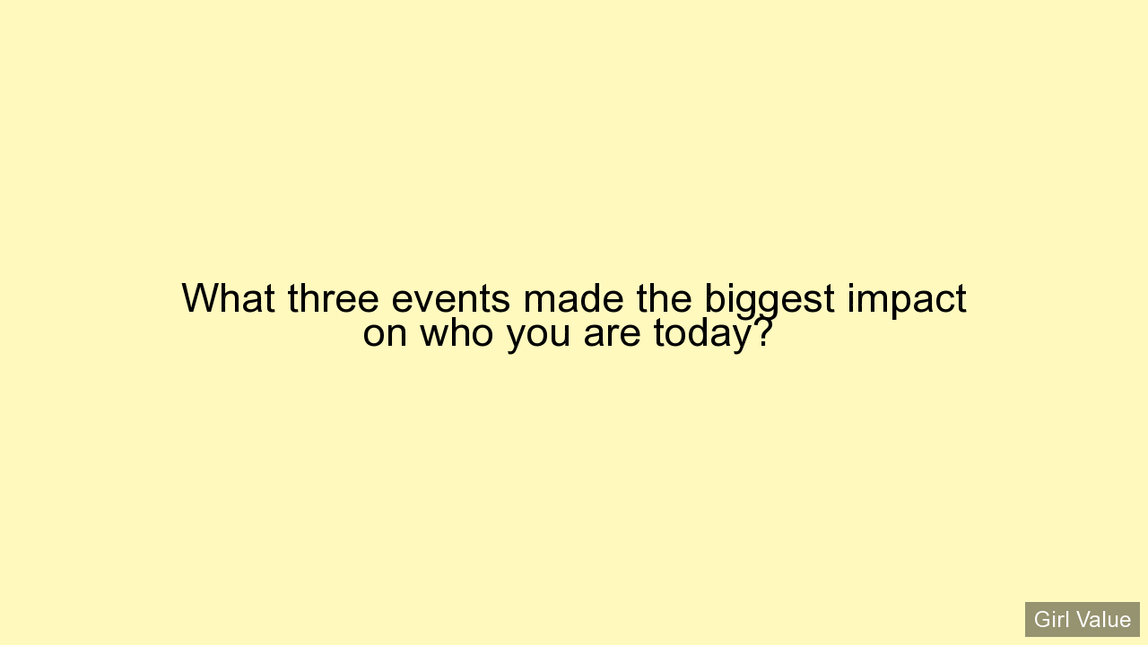 What three events made the biggest impact on who you are today?