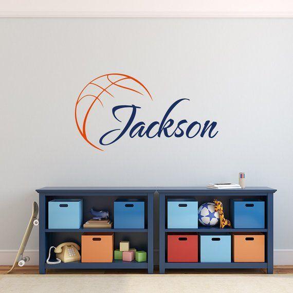 basketball name wall decal boy basketball personalized decal boy rh pinterest com