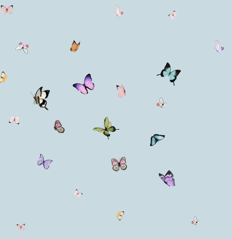 Butterfly Kaleidoscope Blue Peel N Stick Or Etsy In 2020 Butterfly Wallpaper Iphone Apple Watch Wallpaper Aesthetic Desktop Wallpaper