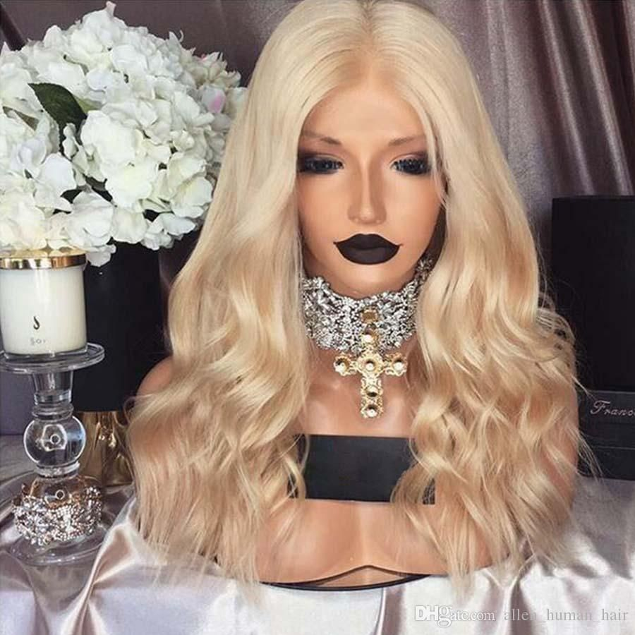 Lace Front Human Hair Wigs Wavy Blonde Brazilian Virgin Hair 150