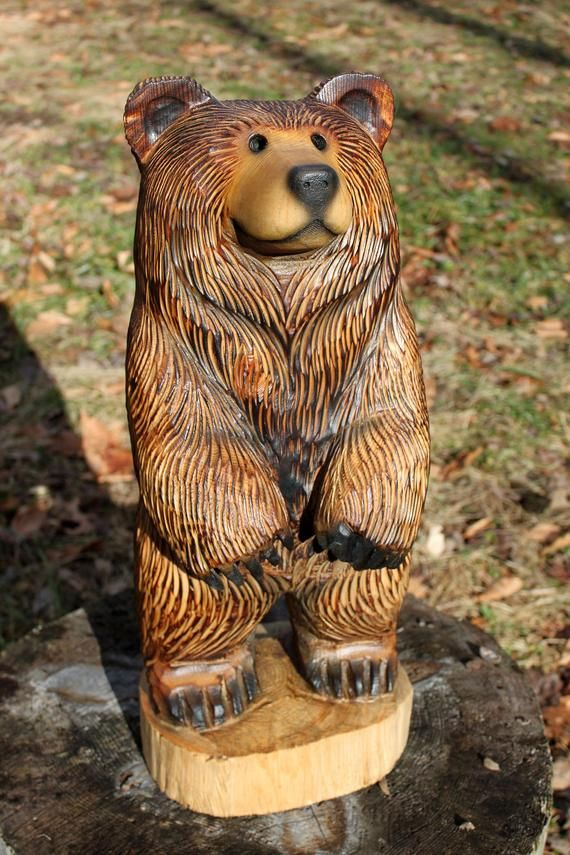 Rusty Brown Bear Chainsaw Carving Wood Sculpture 20 23 Etsy Bear Carving Bear Sculptures Bear Gallery