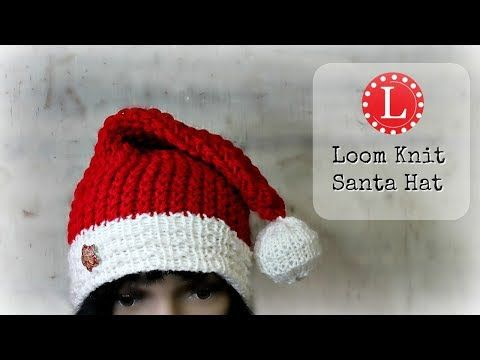 20 Loom Knitting Hat On A Round Loom Christmas Holiday Santa Hats