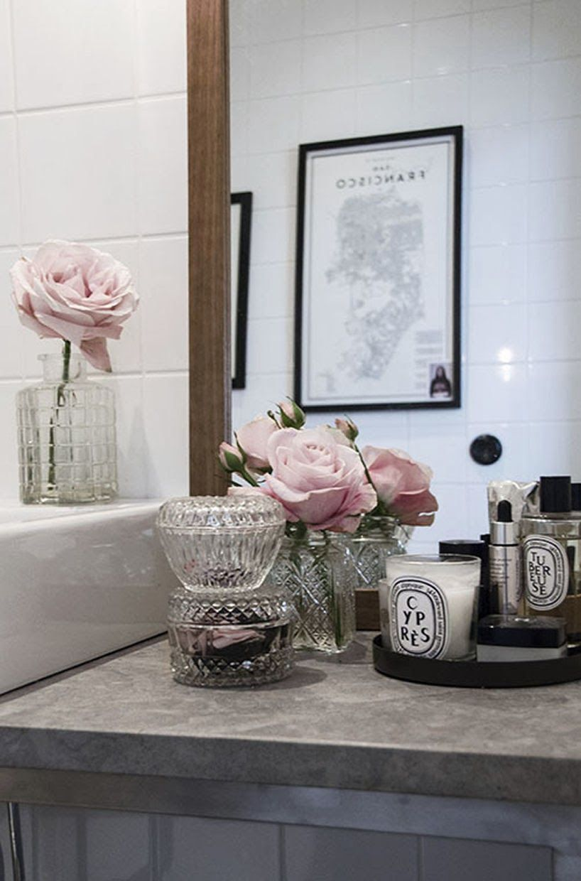 crystal bathroom accessories sets%0A Roses for Mom             Blush roses  crystals  u     Diptyque candles for bathroom  d  cor