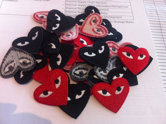 Play heart iron patch Red and Black cdg iron on patch comme des garcons
