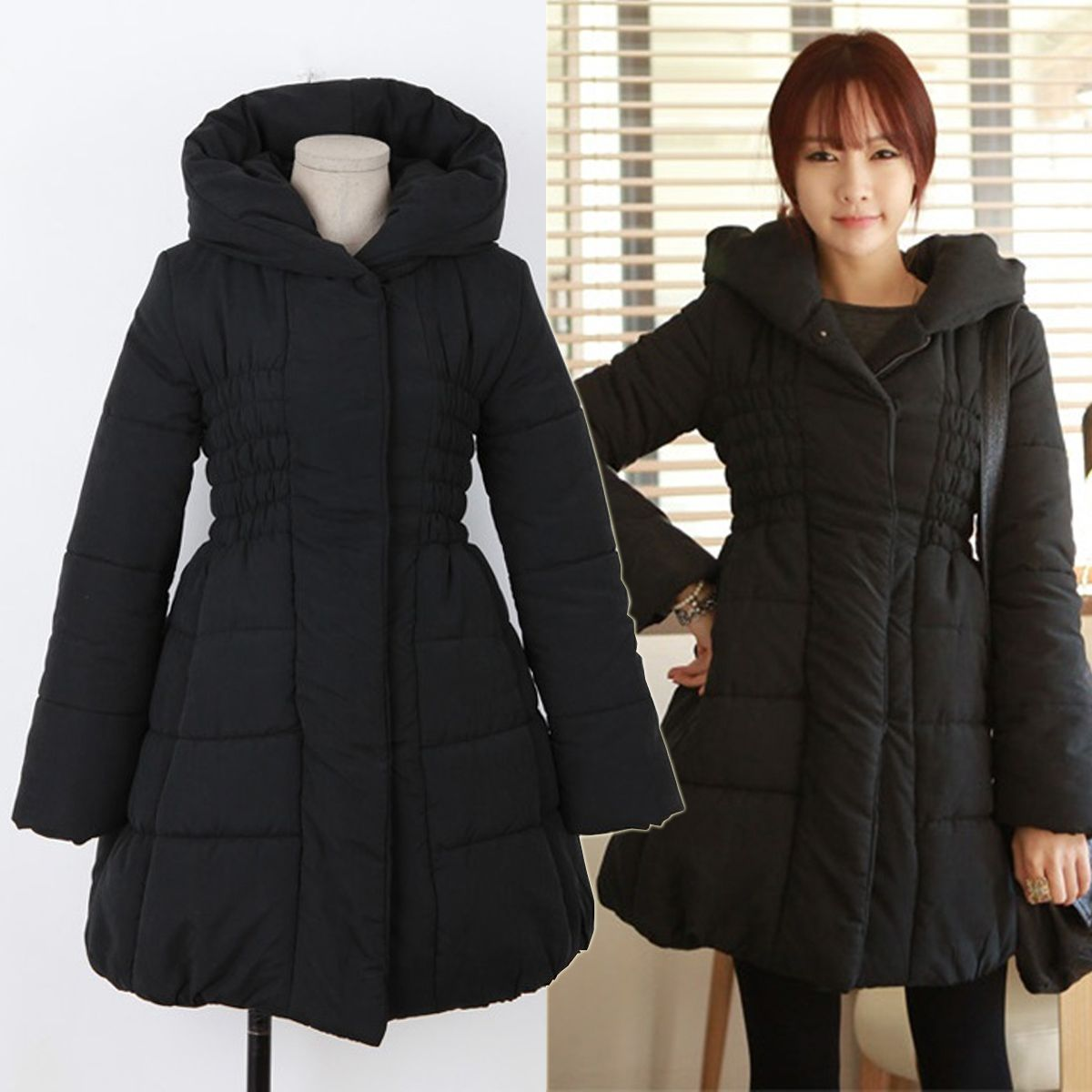 Black Puffer Down Coats Women Jackets Dresses Winter Korean Kpop ...