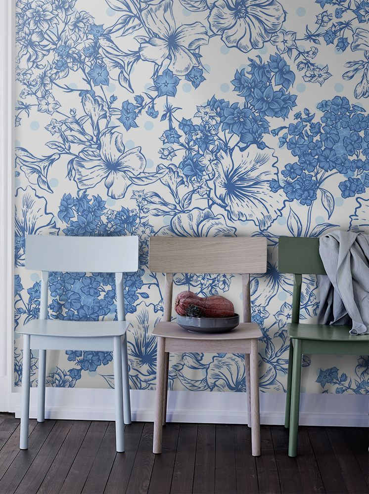 Faience Flowers Removable Wallpaper Wallpaper Is 100 Removable It Means It Can Be Removed Or Repositioned When Needed Without Da Wall Murals Wall Decor Decor