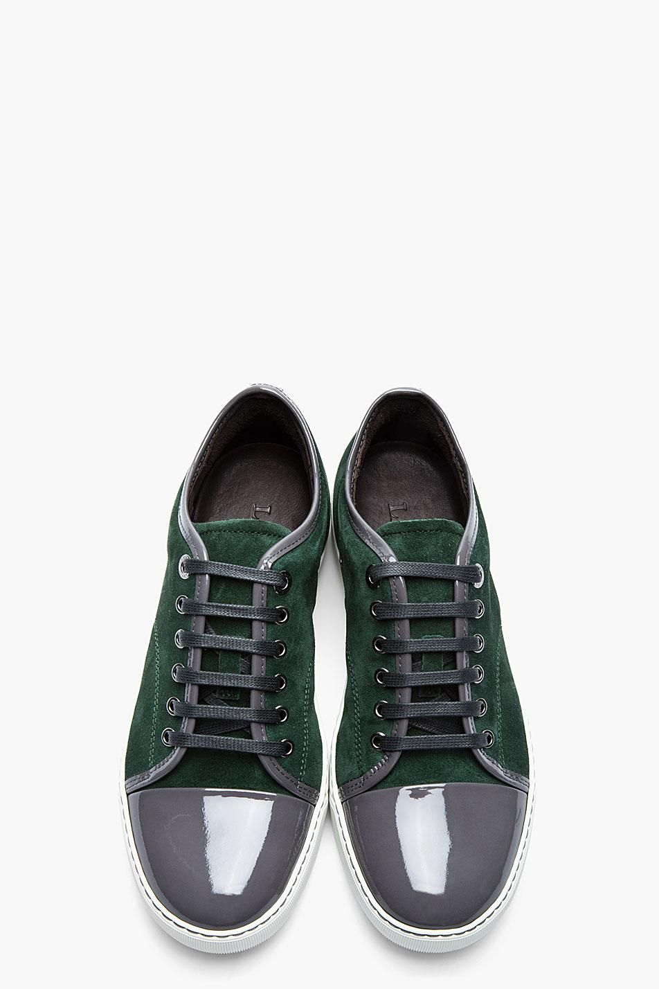 3851a0c5be2c8 Lanvin Forest Green Patent and Suede Tennis Shoes | My Funny ...