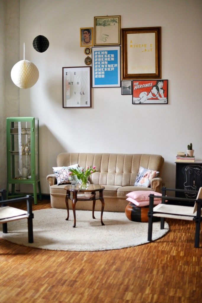 Vintage inspired living room with Ikea 'Fabrikör' display cabinet