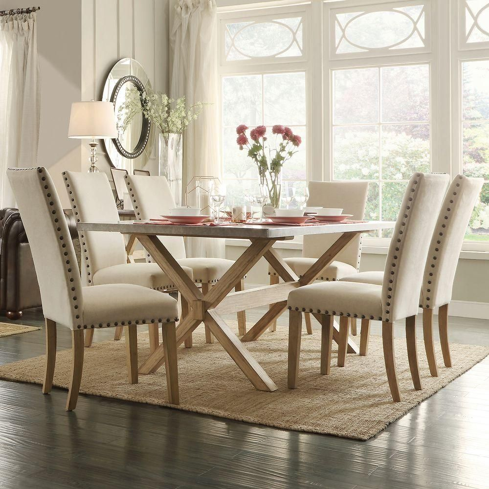 Upton Beige Linen Dining Chair Set of
