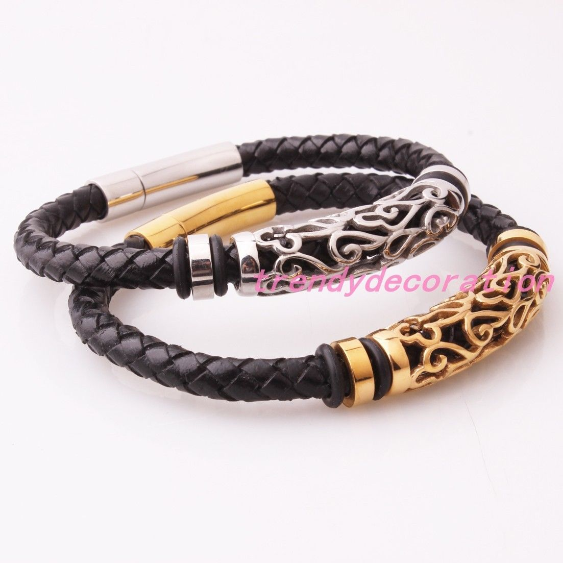 Hot stainless steel silver gold jewelry genuine black leather mens