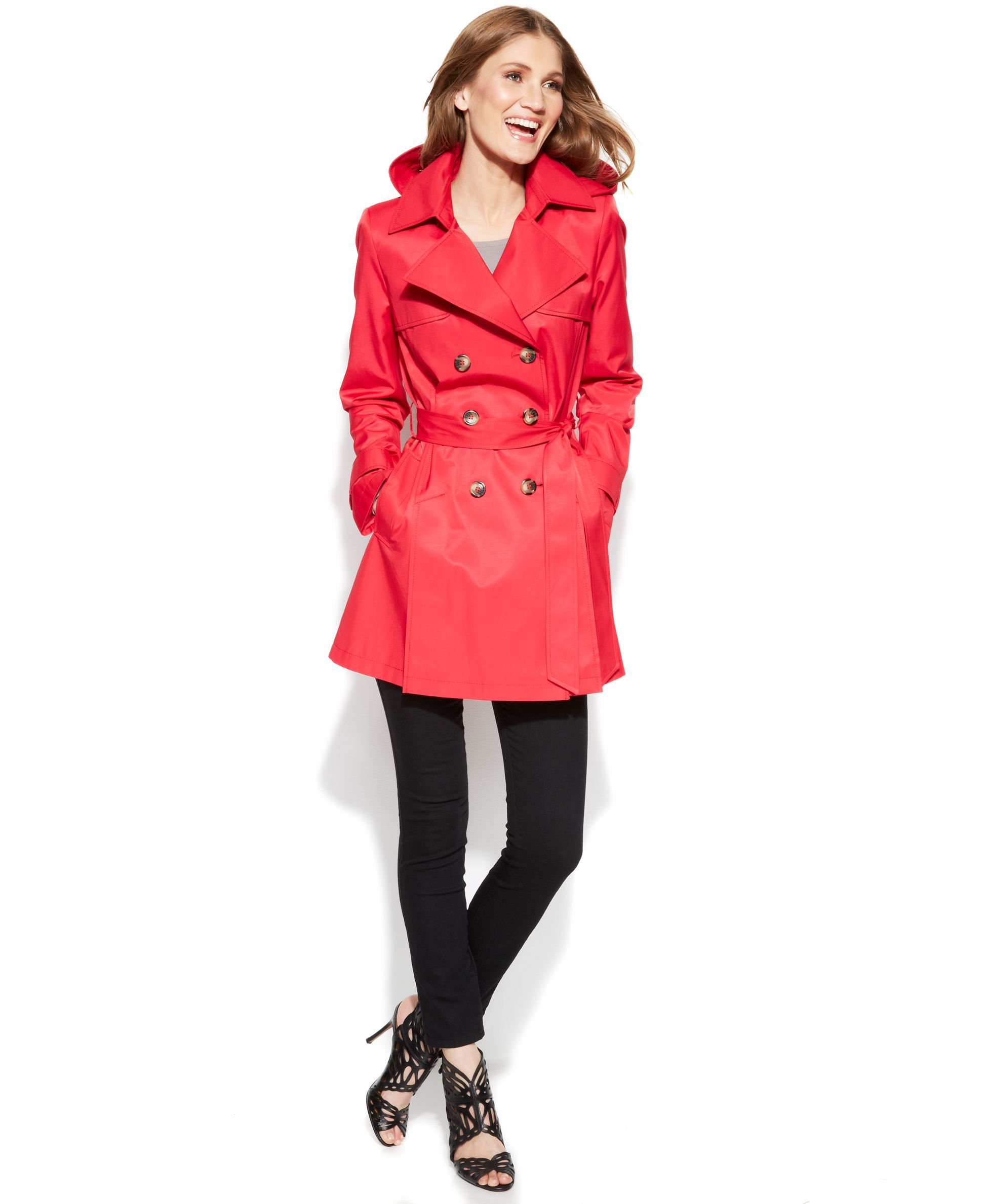 DKNY Petite Double-Breasted Trench Coat | Products | Pinterest ...