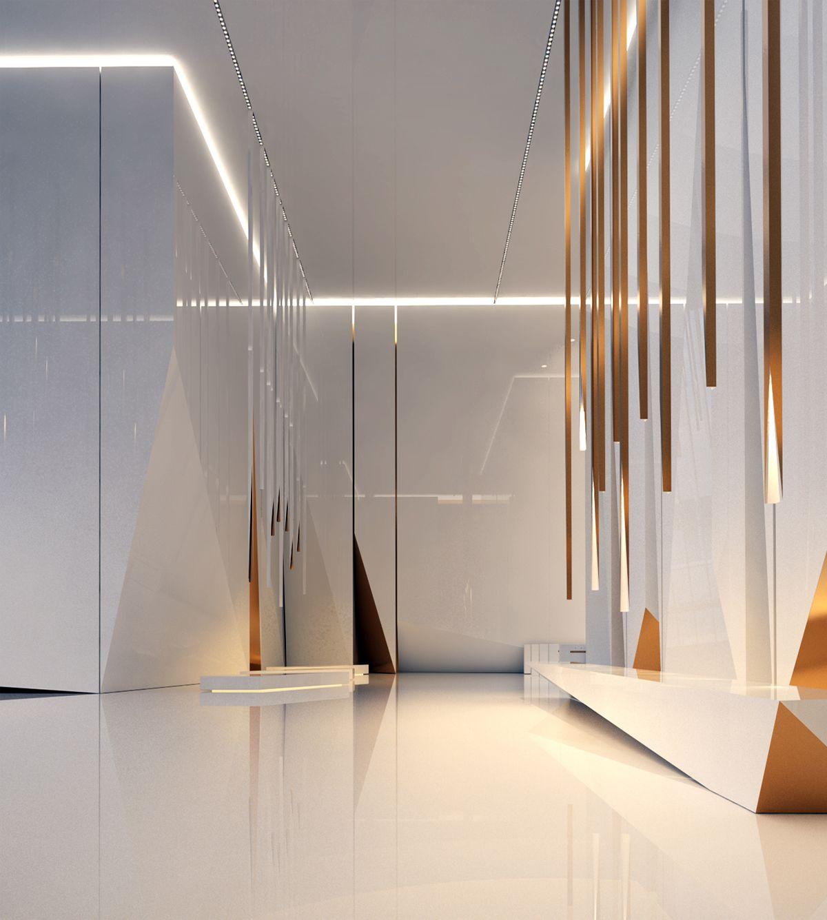 Lobby space on behance interiors office corporate design also modern ideas hospitality rh pinterest