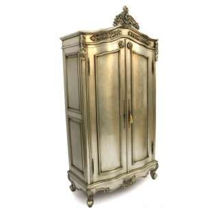 French Style Furniture Silver Armoire Wardrobe Designer