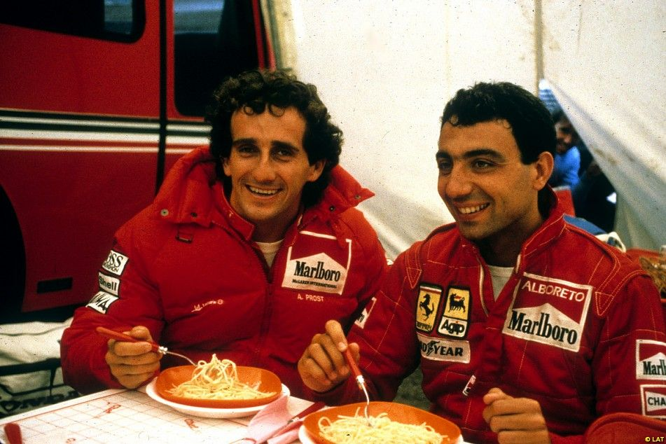 Alain Prost and Michele Alboreto enjoy a good-natured rivalry in their 1985 title fight, and tuck into some pasta.