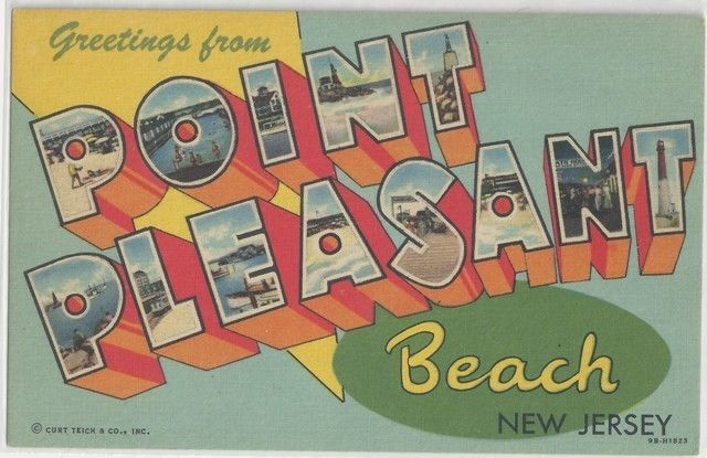 Vintage 1950 Large Letter Greetings from Point Pleasant NJ Linen - letter greetings