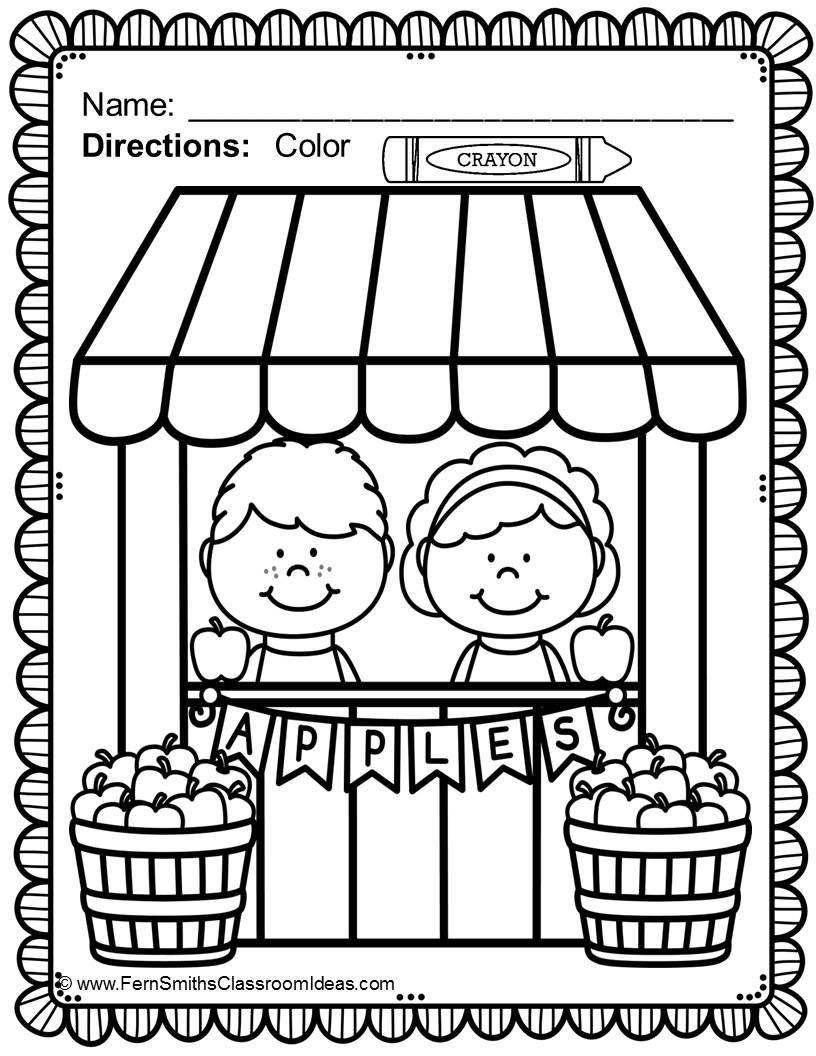 FREE Apple Themed Coloring Page