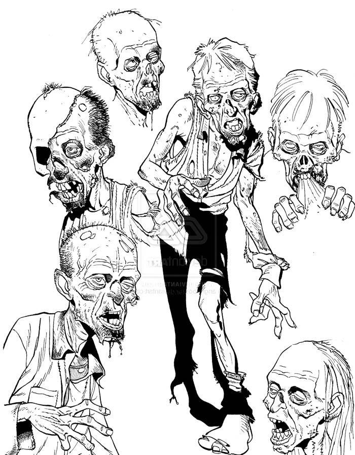 Cartoon Zombie Sketch Stuff Coloring Page   Zombie cartoon ...