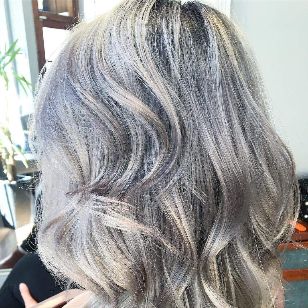 Robbie Bruce On Instagram Still Absolutely In Love With This Silver Grey Colour I Did On Ri Gray Hair Highlights Hair Colour For Green Eyes Light Hair Color
