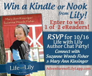 Life With Lily Kindle Fire and Nook HD Giveaway! Find out who won at Suzanne and her co-author, ex-Amish blogger, Mary Ann Kinsinger, Facebook Party on 10/16. #Amish @Suzanne Woods Fisher