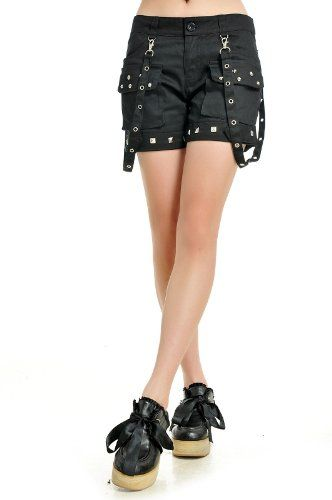 d00489432 GDR - Punk Fashion Gothic Visual Rock Casual Short Pants S M L Size 71250  at Amazon Women's Clothing store