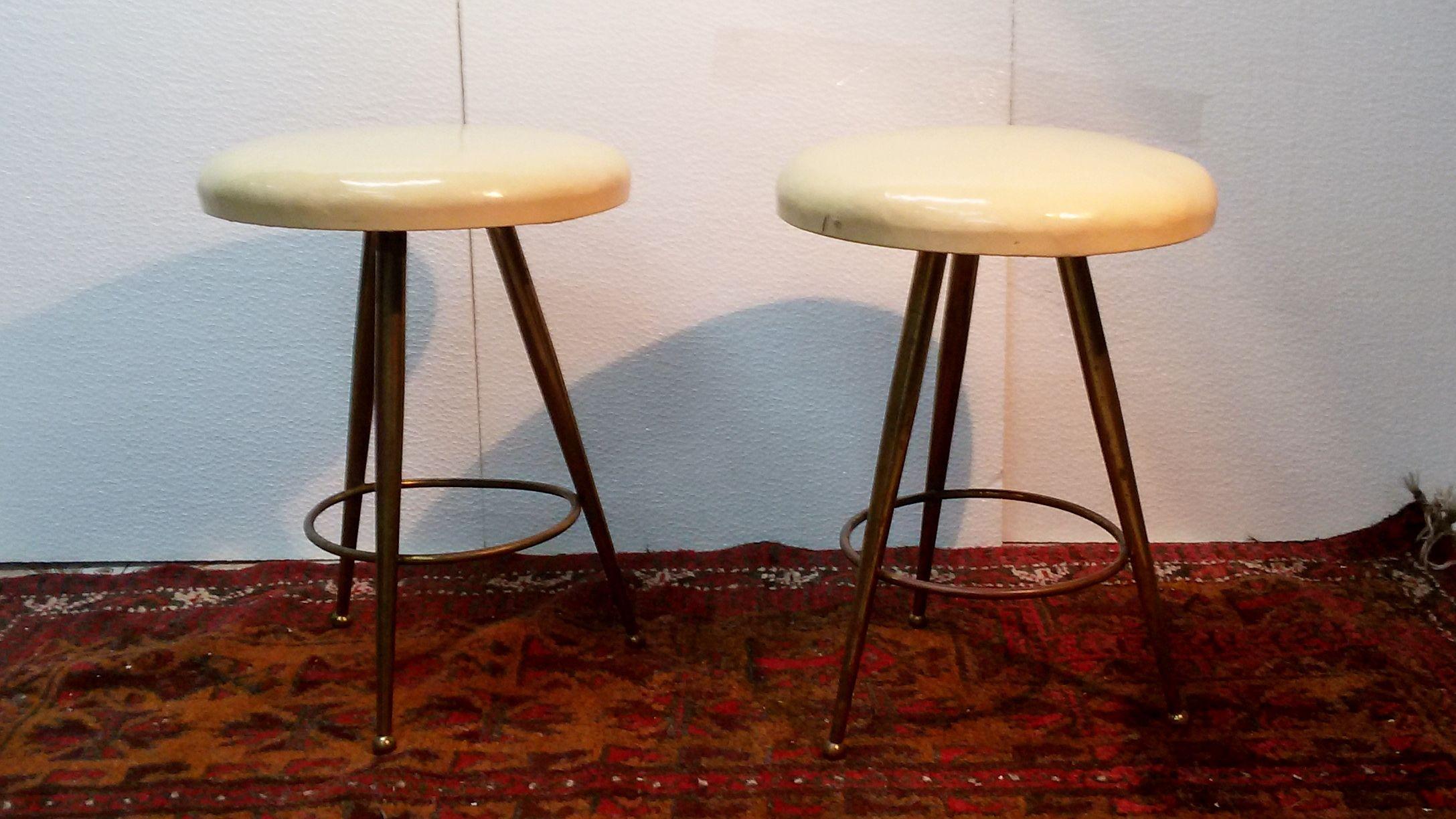 Coppia sgabelli sky stools in ottone brass anni design italiano