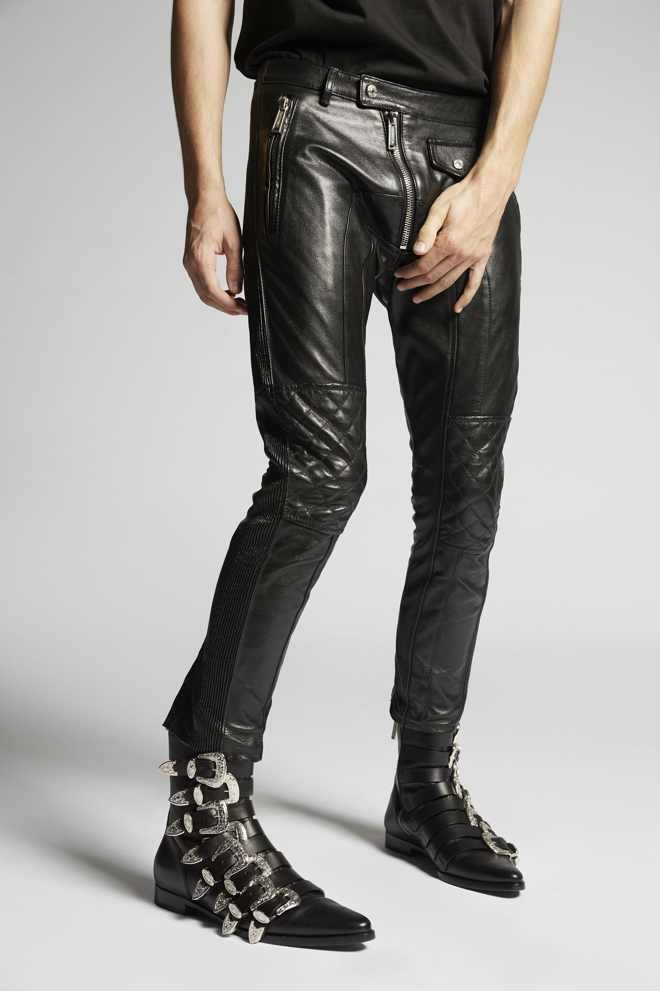 f9f0fdf2 Dsquared2 Leather Biker Pants Black - Pants for Men | Official Store ...