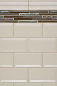 White Subway Tile With Accent Stripe Subway Tile Beveled Subway