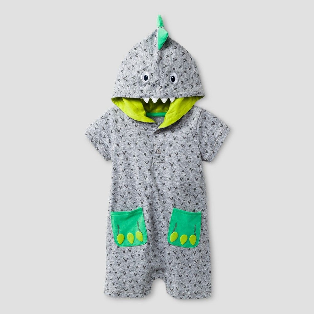 c98db0085 Baby Grand Signature Baby Boys  Dino Hooded Romper - Heather Gray ...