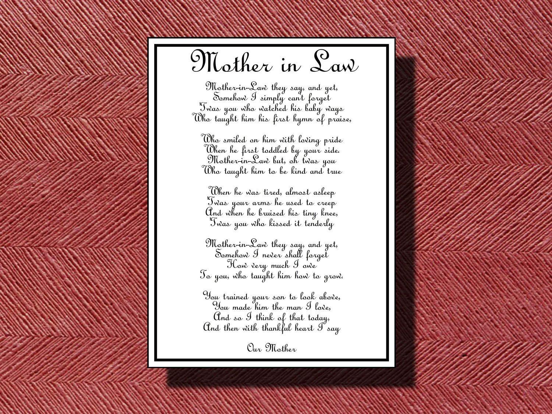 Wedding Day Mother-in-Law Poem DIY Printable | Wedding Bliss ...