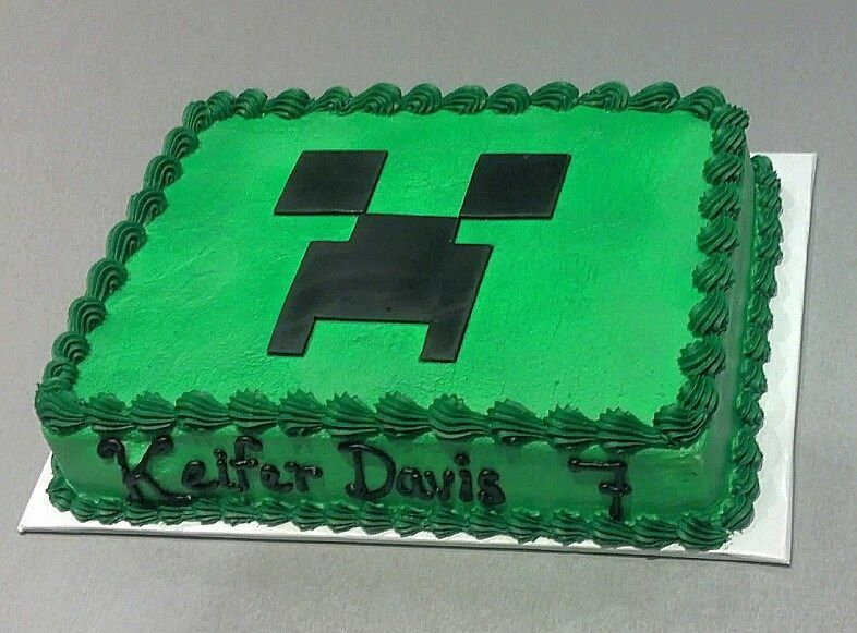 Order A Plain Green Cake And Make The Creeper Face Out Of Black