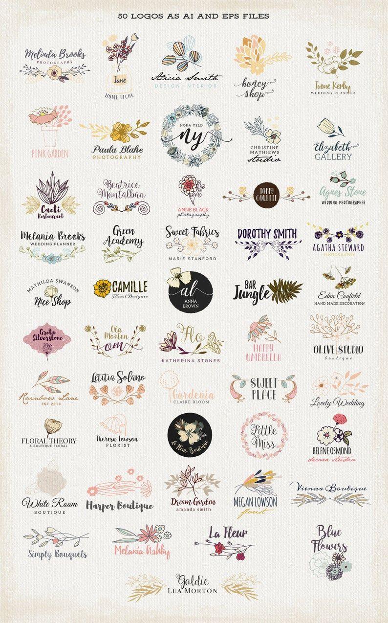 Big 50 floral logos set, elements vector hand draw